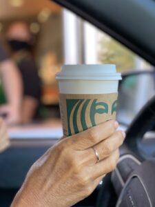 Starbucks coffee cup via drive thru