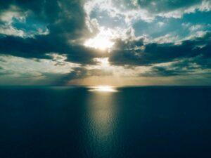 sunrise over an ocean
