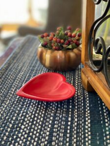 Heart plate on table