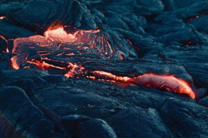 new channel of lava flow