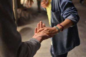 taking hand