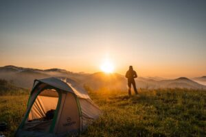 wanderer with tent